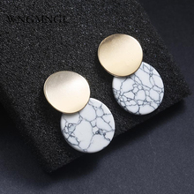 WNGMNGL 2019 Female Earrings Fashion Simple Design Gold Alloy Black White Stone Round Drop Dangle Earrings For Women Jewelry цены