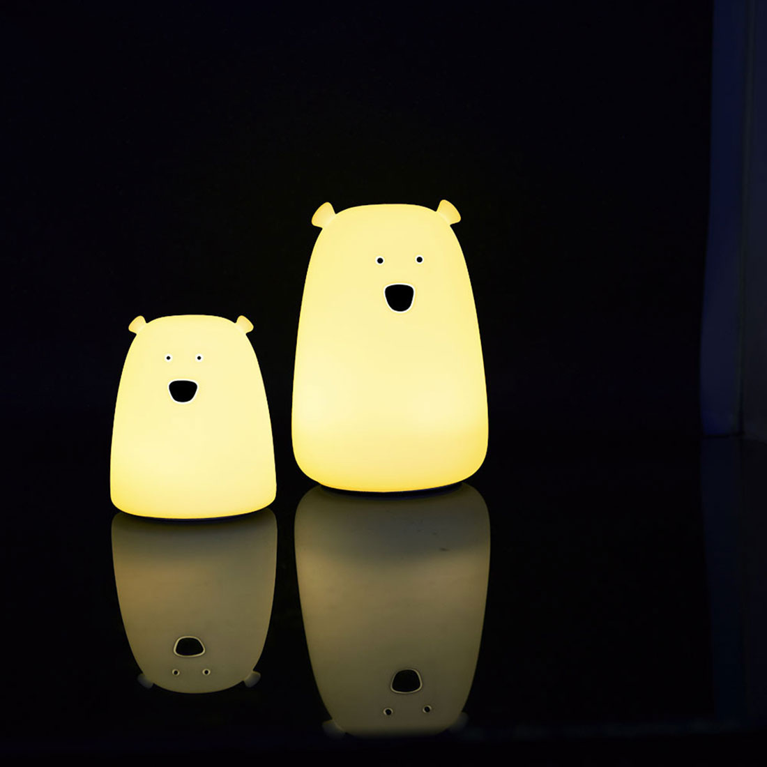 Baby Bedroom Night Lamp Cute Bear Silicone LED Night Light Color Changing LED Bedside Light For Children Kid Toy Gift