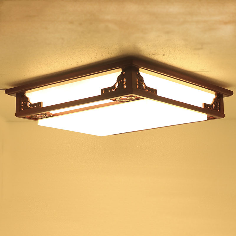 55cm New Chinese fangyangpi simple solid wood ceiling lamp vintage lamps bedroom lighting