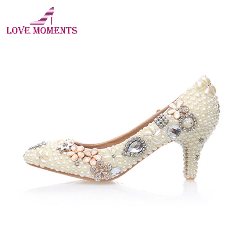 Handmade Large Size Women Pumps Ivory Pearl Wedding Party Shoes Round Toe Bridal High Heels Bridesmaid Shoes 6cm Middle Heel