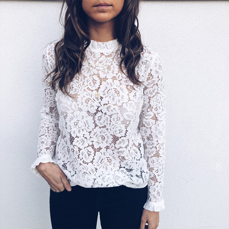 Attractive Floral Lace Perspective Tops Elegant Girl Slim Lace Shirt O Neck Lengthy Sleeves Autumn Shirt Sj1347E