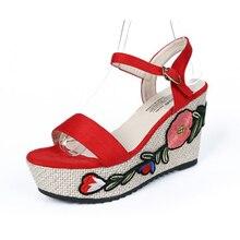 Sapatos Mulher Real Pu Sandalias Mujer Сандалии Новый 2018 Летние роскошные тапочки Slop на высоком каблуке Обувь вышитые сандалии 45
