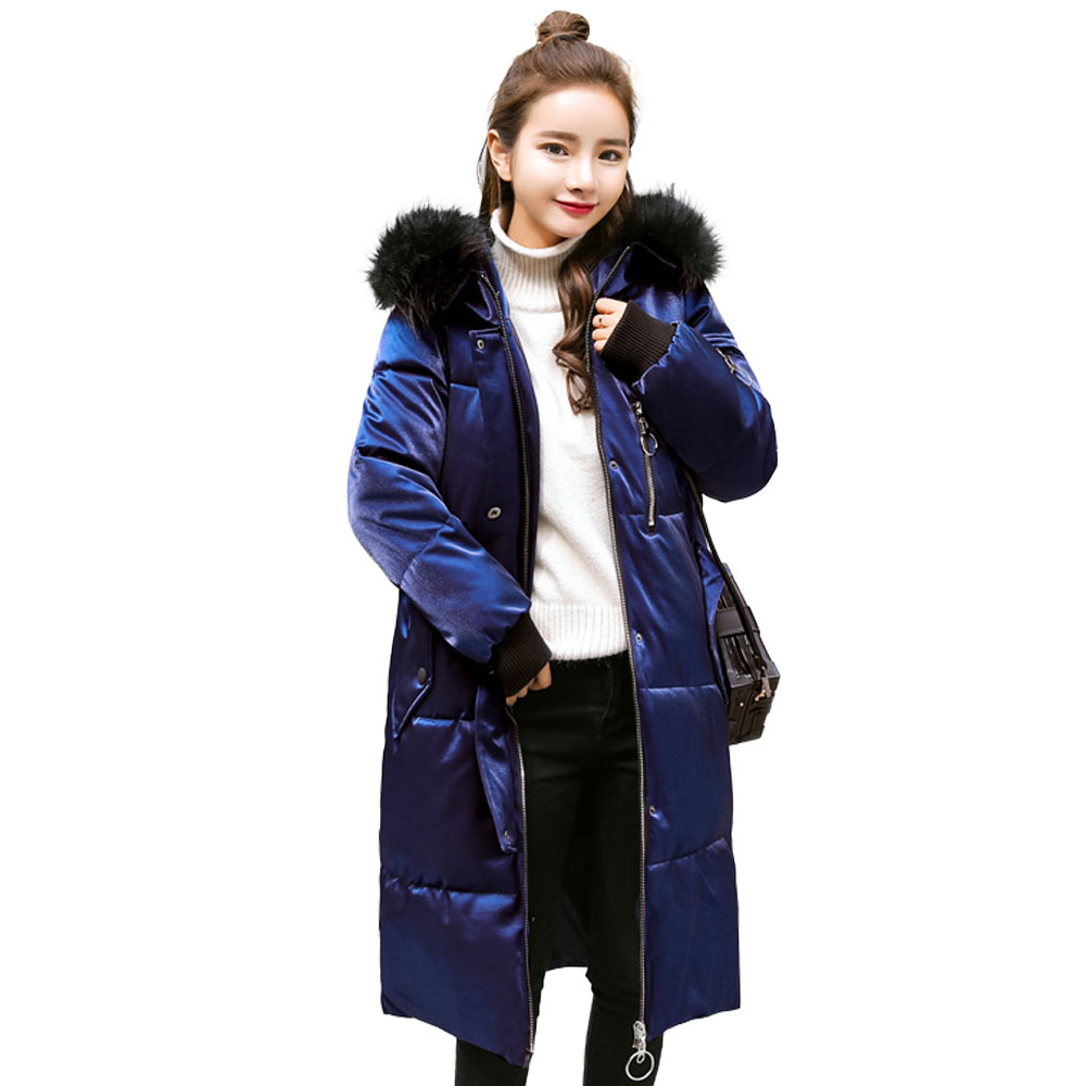 New Hooded Elastic Faux Fur Collar Winter Down Coat Thick Warm Loose Women Fashion Mujer Casaco Feminino Female Jacket Overcoat