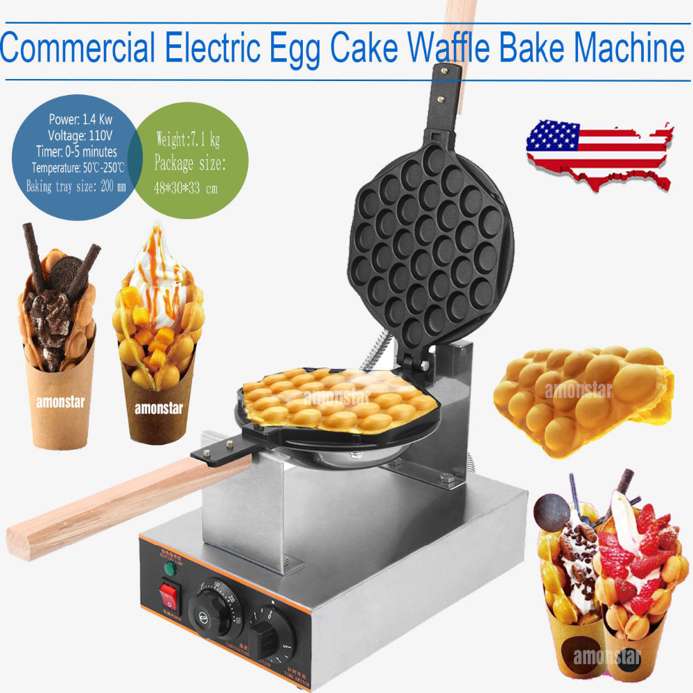 (Ship from US ) Electric Egg Cake Waffle Baker Machine Puff Waffle maker machine bubble egg cake oven commercial cake making machine electric egg bubble waffle maker machine electric egg waffle maker bubble waffle machine