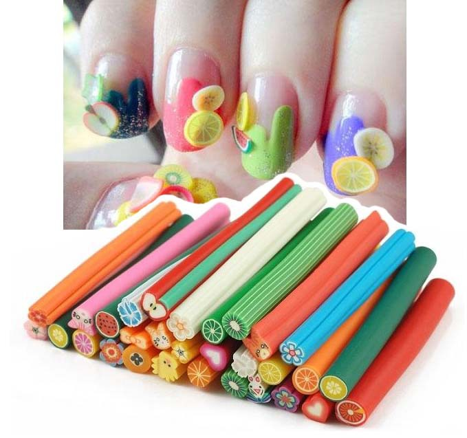 30 Pcs Cane Polymer Clay Nail Art Stickers 3d Fruit And Flower Cutted Rolls St Decal Tip Cute Printer Diy In Decals From Beauty