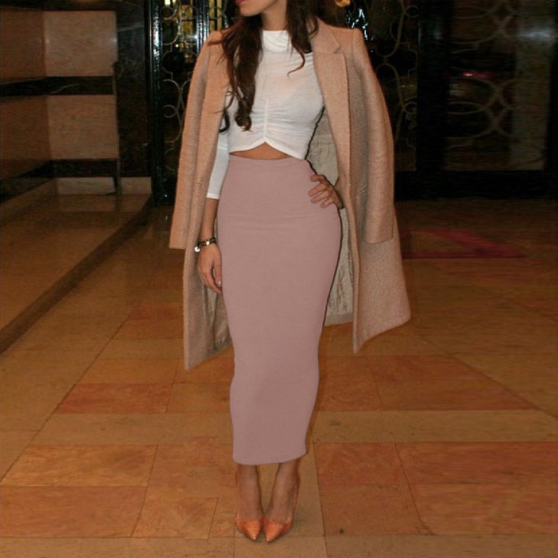 Women High Waist Office Pencil Skirt Straight Calf Length Midi Skirt Bodycon WD5 In Skirts From