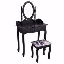 Vanity Wood Makeup Dressing Table Stool Set