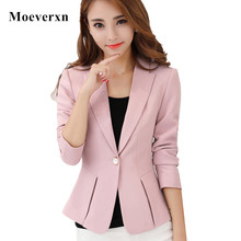 Women Long Sleeve Single Button Blazers Outwear 2017 Elegant Ol Style Pink Female Blazers Black Suit Jacket Orange Spring Autumn