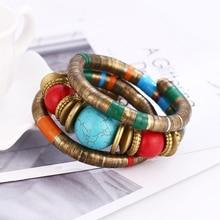 Vintage Boho Statement Bangle Bracelets Feminino Cuff Turquoise Chain Nepal Retro Lava Stones Wristband Women Bracelet 2016