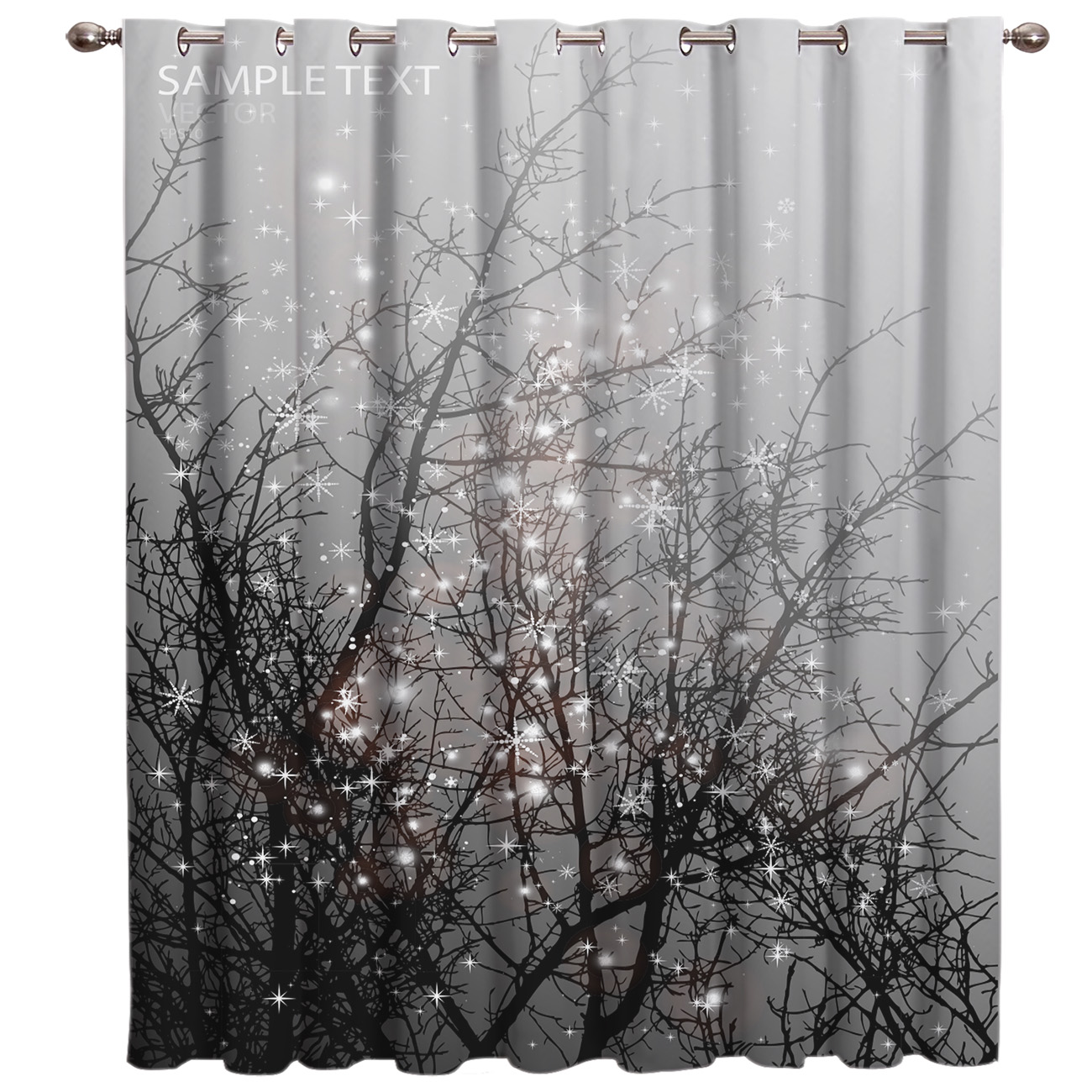Christams Night Branch Snow Room Curtains Large Window Curtain Rod Blackout Curtains Kitchen Decor Curtain Panels With Grommets