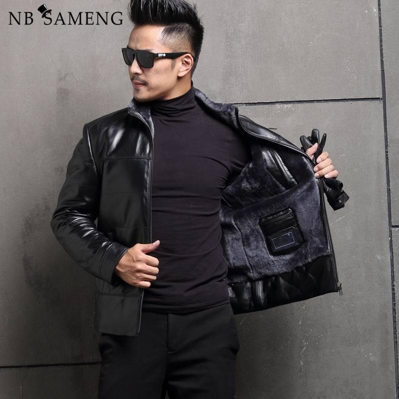 2017 Winter New Arrival Men Composite Leather Jacket Mandarin Collar Sheepskin Fur Slim Fit Warm Coat Plus Size
