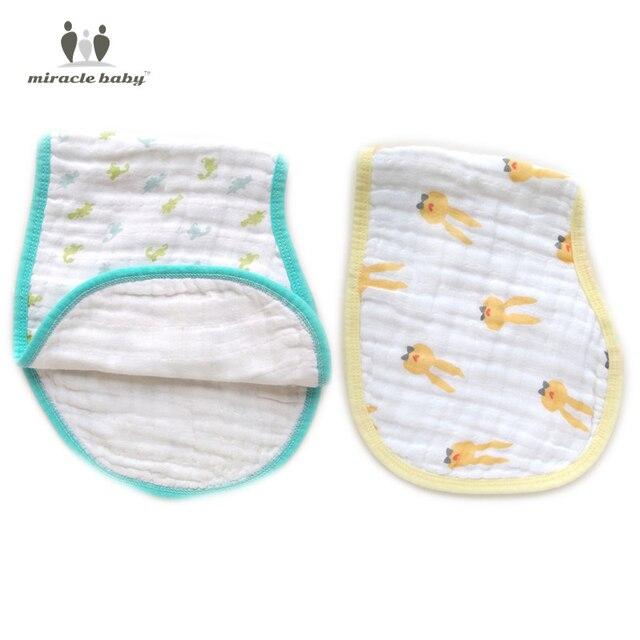 2 per Pack 100% Cotton Muslin no-slip Classic Burp Cloths burpy bibs for new borns 6 layers thick