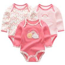 Детские комбинезоны с длинными рукавами для мальчиков и девочек; Комбинезоны из хлопка с рисунком; Одежда для новорожденных из 3 предметов