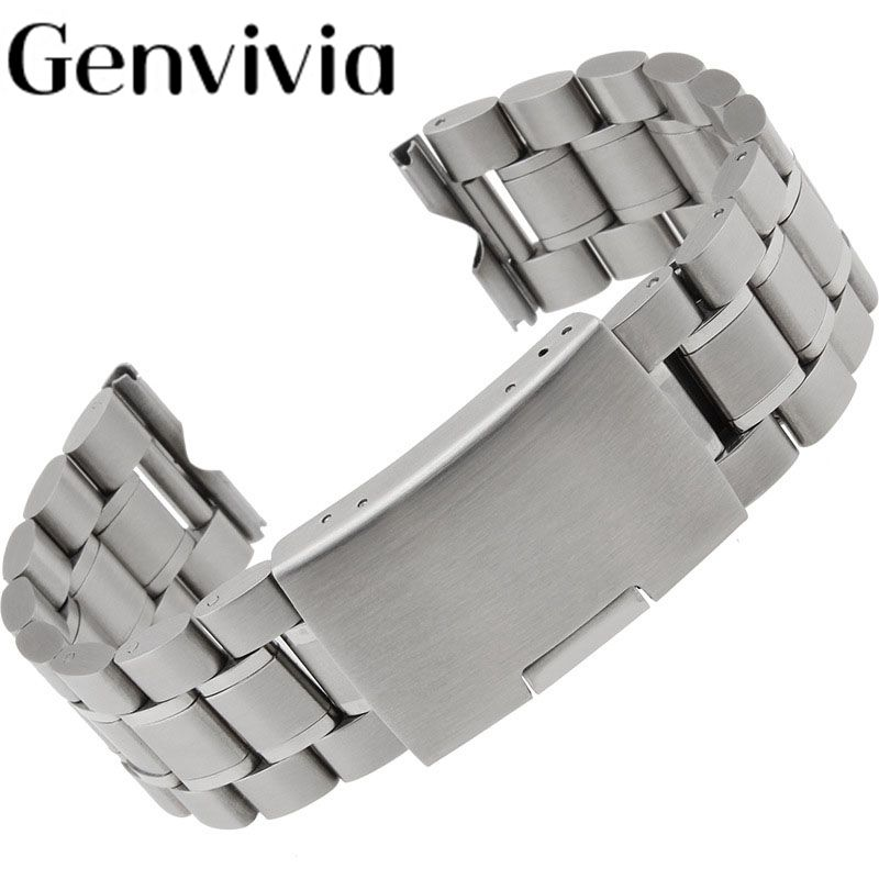 Top brand watch strap Stainless Steel Bracelet Watch Band Strap Straight End Solid Links 24mm high quality watchbands relogio #A