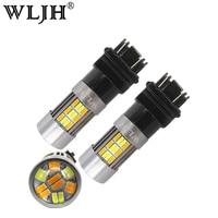 WLJH 2x20 W 3157 Avant Clignotants 3156 3057 LED Auto voiture LED Switchback Drl Feux de Stationnement Ampoule lampe Blanc + Ambre Double Couleur