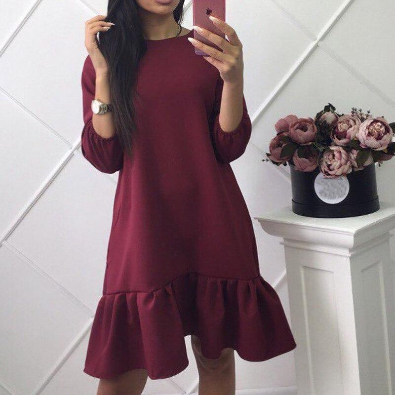 2018 Fashion Womens Summer Style Ruffle Casual Mini Dress Spring O-neck Three Quarter Lantern Sleeve Loose Vintage Party Dresses
