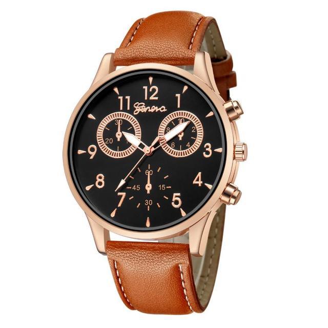 Business Men's Quartz Date Clock Man Leather Wrist Watch 5