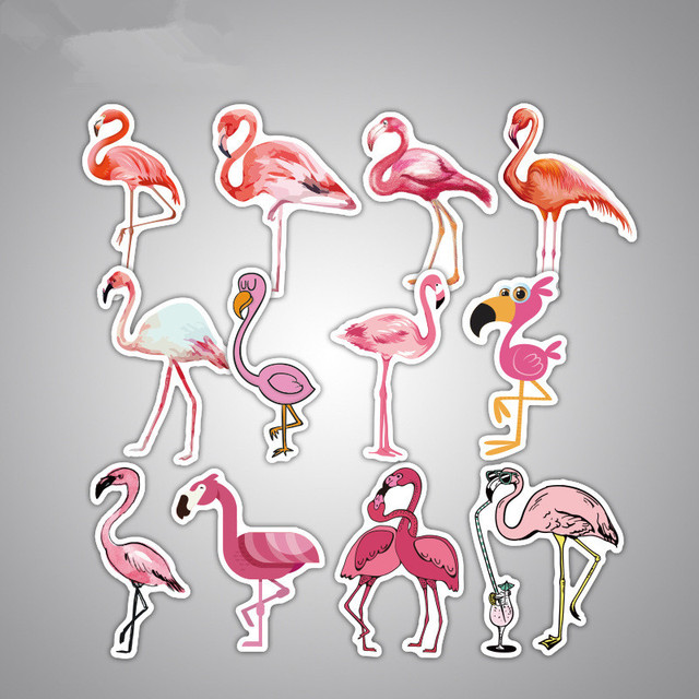 18pcs/set Flamingo waterproof luggage guitar suitcase Stickers DIY cute shoes Phone Laptop Covers T180866
