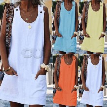 CUERLY Summer Loose Vest Overall Dress High Quality Cotton and Linen Solid Casual Sleeveless Beach Feminino