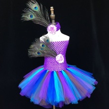 цена на Girls Peacock Feather Tutu Dress Baby Crochet 2Layers Tulle Dress Ballet Tutu with Flower Headband Kids Custom Tutus Party Dress