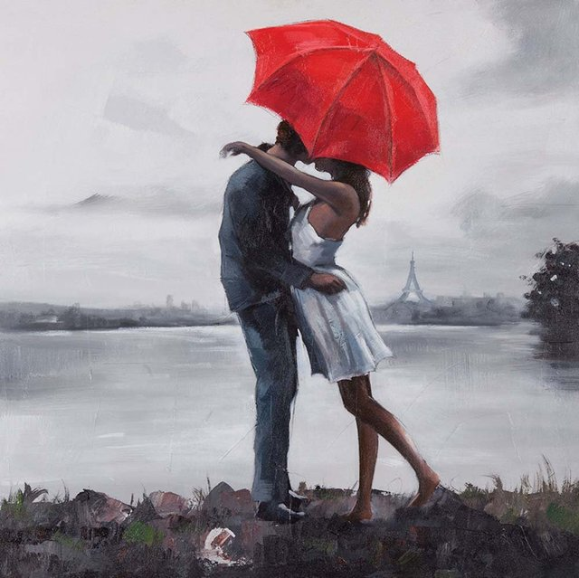 Hand Painted Kissing In The Rain Under Red Umbrella Oil Painting On Canvas Wall Art