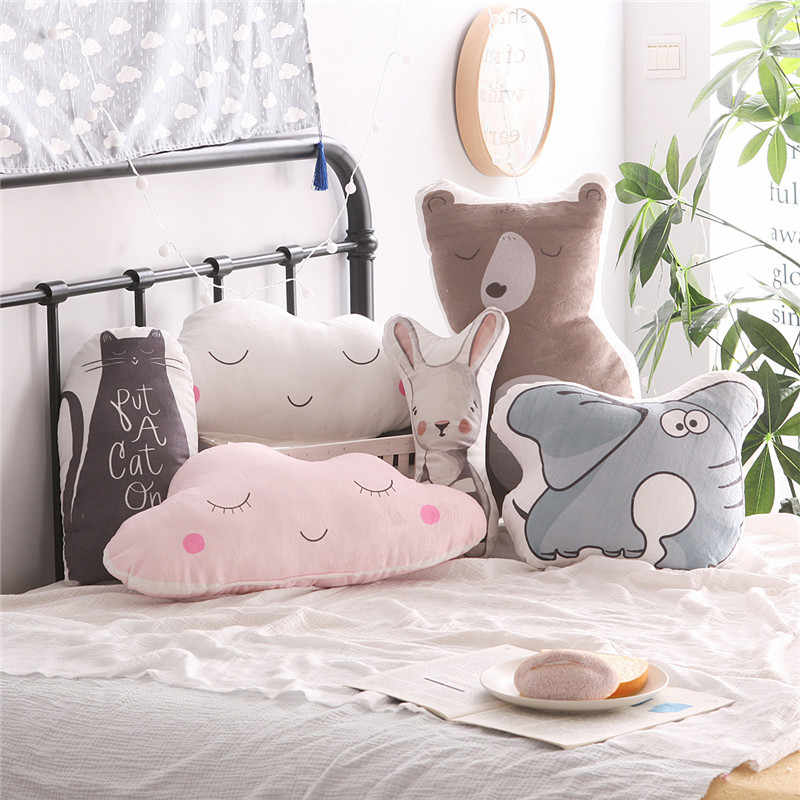Decorative Pillows Cartoon Clouds Rabbit Emoji Elephant Cushion Cute Baby Pillows Sleep Toys Stuffed Plush Dolls Gifts For Kids