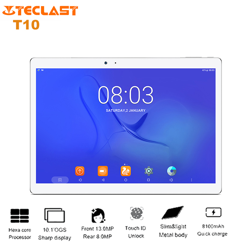 Mestre T10 Teclast 10.1 ''Tablet PC Android 7.0 MTK8176 Hexa Core 1.7 GHz 4 GB + 64 GB Dual wiFi OTG 13MP Cams Comprimidos de Impressão Digital
