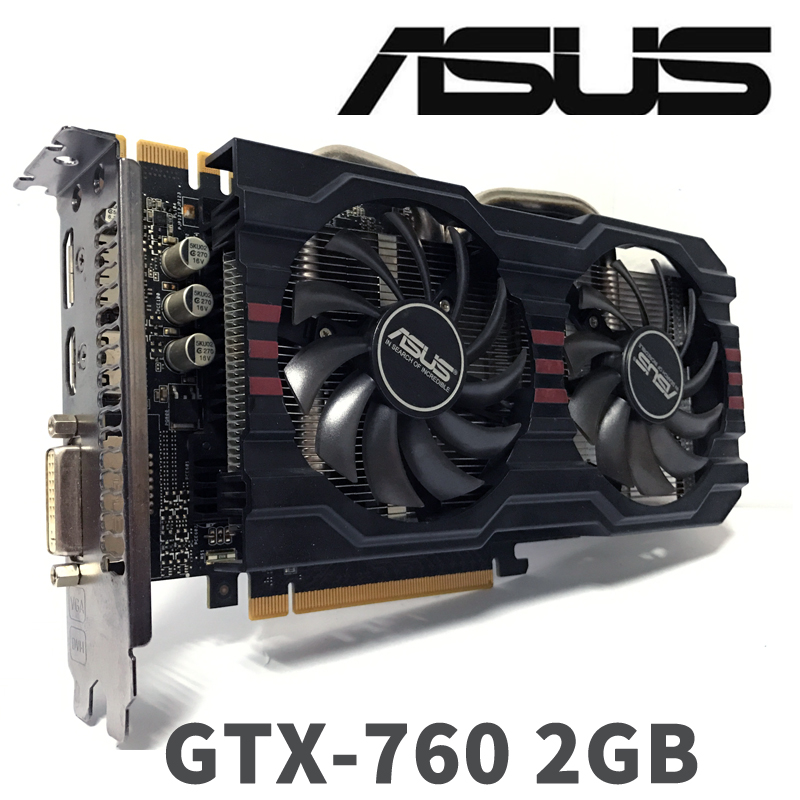 Asus GTX760 2GB D5 DDR5 256Bit PC Desktop GTX 760 2G GTX760 2G Graphics Cards PCI Express 3.0 computer <font><b>Video</b></font> card HDMI image