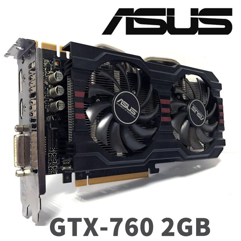 Asus GTX760 2 GB D5 DDR5 256Bit pc de bureau GTX 760 2G GTX760 2G cartes graphiques PCI Express 3.0 ordinateur carte vidéo HDMI