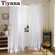 Europe Solid White Yarn Curtain Window Tulle Curtains For Living Room Kitchen Modern Window Treatments Voile Curtain P184Z40 cheap Translucidus (Shading Rate 1 -40 ) Exterior Installation Office Hotel Hospital Cafe Home Excluded Left and Right Biparting Open