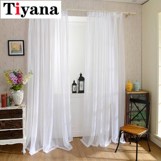 Europe Solid White Yarn Curtain Window Tulle Curtains For Living ...