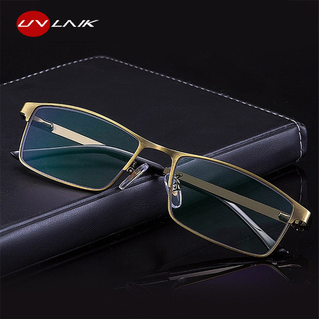 UVLAIK Metal Frame Reading Glasses Men Resin Lenses Anti-fatigue Reader Eyewear 1.0 1.5 2.0 2.5 3.0 Blue Light Blocking Glasses