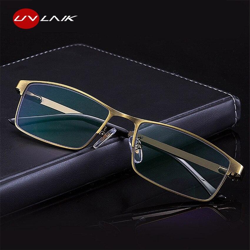 8af5eb739a UVLAIK marco de Metal gafas de lectura hombres resina de lentes Anti-fatiga  lector gafas 1,0, 1,5, 2,0, 2,5, 3,0 de luz azul bloqueo de gafas