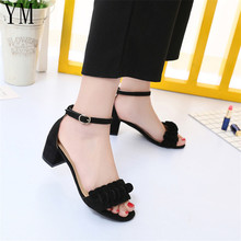 Summer Flower New High Heels Women's Shoes With Open Toe Suede 5.5CM Sexy Word B
