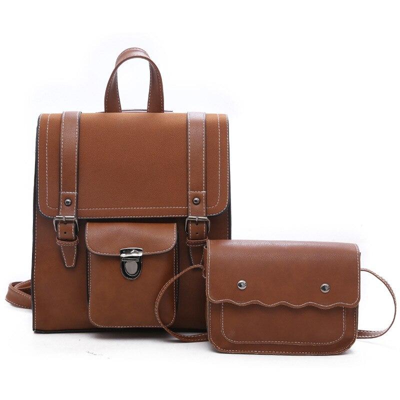 Mode Vintage sac à dos 2 pièces ensemble femmes sac à dos PU cuir sac d'école femmes Style décontracté solide couleur grand fourre-tout sacs à bandoulière
