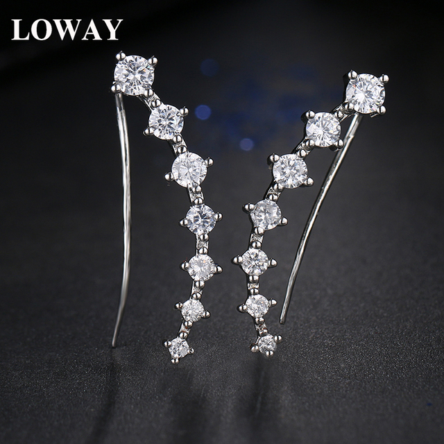 Loway Trendy Luxury Earring Jackets Wedding Aaa Cz Fashion Shining Jewelry For Women Party Dropshipping Factory