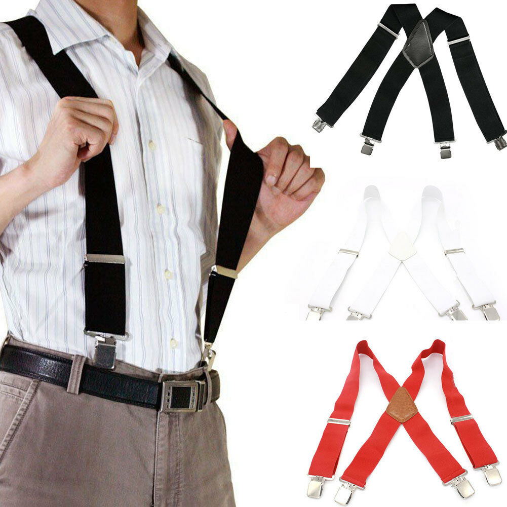 3 Colors Men Ladies 50mm Wide Braces Plain Heavy Duty Suspender Elastic Black