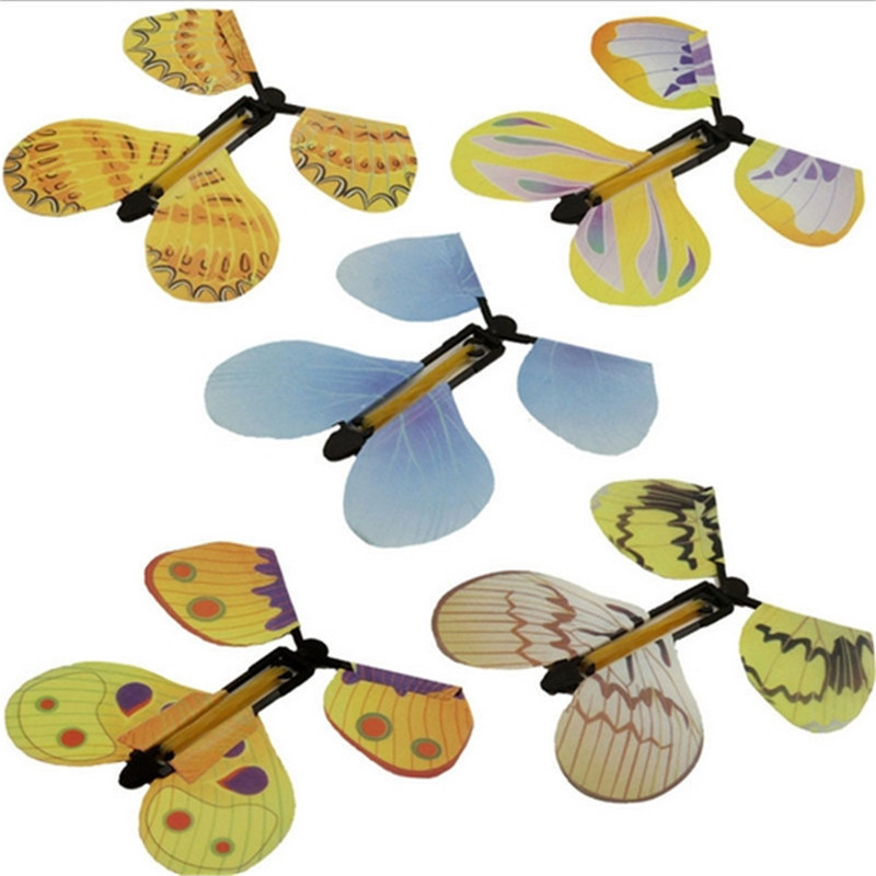 New Butterfly Flying Butterfly Hand Transformation Fly Butterfly Magic Props Funny Surprise Prank Trick Toys Random Color