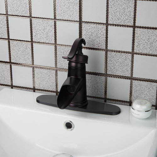 Shivers Spoon Classic Oil Rubbed Bronze Bathroom Sink Waterfall Spout Mixer Faucet Match Color 3 Hole