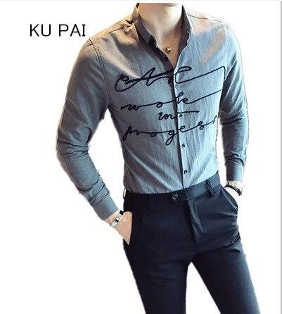 f97ed4cd5f 2017 dos homens do outono longa-camisa de mangas compridas Coreano Magro  moda linha de