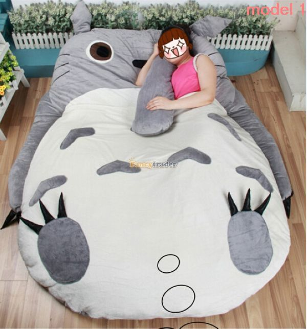 Fancytrader 200cm X 160cm Huge Giant Stuffed Totoro Bed Carpet Tatami Mattress Sofa, 2 Models Available! Free Shipping FT50325 fancytrader biggest in the world pluch bear toys real jumbo 134 340cm huge giant plush stuffed bear 2 sizes ft90451