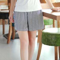 New Black White Vertical Stripes Pocket   Shorts   Summer High Elastic Waist   Short   Pants Women Loose Casual   Shorts   Female   Shorts