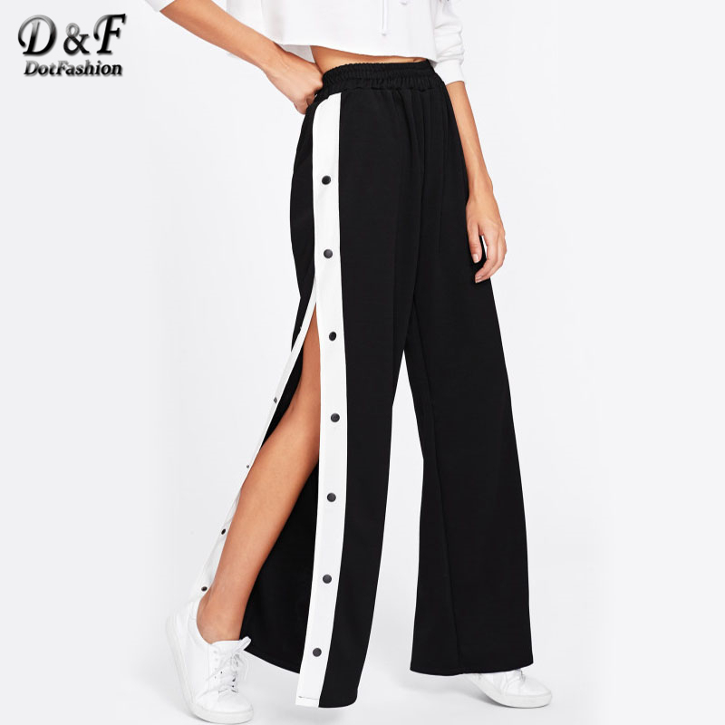 Dotfashion Button Side   Wide     Leg     Pants   Mid Waist Trousers Bottoms 2019 New Women Elastic Waist Loose Casual Long   Pants