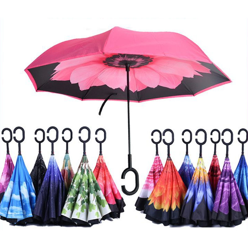 C Handle Black Reverse Folding Umbrella For Proof Windproof Rain Car Inverted Umbrella Double Layer Anti Uv Self Stand Parapluie Home
