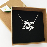 Personalized Jewelry Custom Two Name Necklaces Women Men BFF Bijoux Silver Gold Rose Heart Choker Necklace