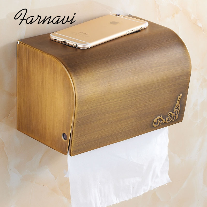 Toilet Paper Holder Brass Antique Brushed Bathroom Accessory Roll WC Roll Organizer Storage Box flg luxury chrome polish purple crystal toilet paper holder wc paper holder toilet roll holder bathroom accessories g805