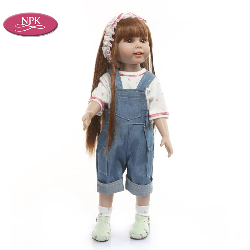 NPK Reborn Toddler Princess Girl Fashion Doll 18 inch Full Body Silicone Lifelike Long Brown Hair