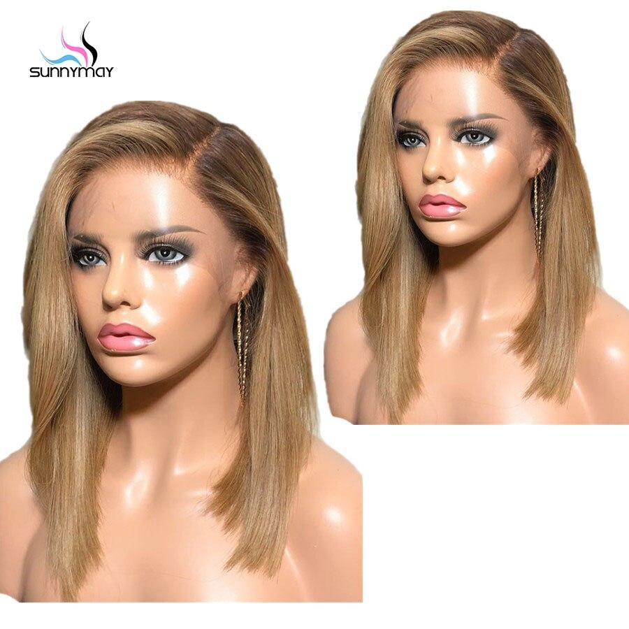 Sunnymay 13x4 Омбре парик из человеческих волос с детскими волосами на заказ 27/613 Remy прямой парик 130% - 4
