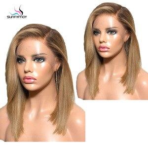Image 4 - Sunnymay 13x4 Ombre Lace Front perruque de cheveux humains avec des cheveux de bébé personnalisé 27/613 Remy perruque droite 130% pré arraché avant de lacet perruques