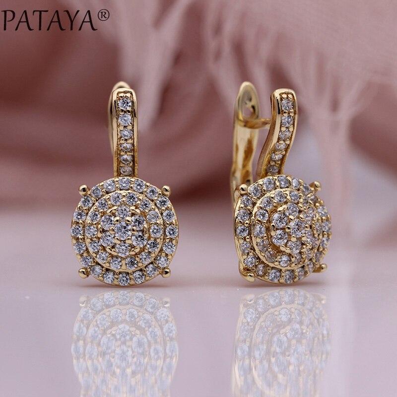 PATAYA nouveau Micro-cire incrusté de luxe Dangle boucles d'oreilles 585 or Rose naturel Zircon mode bijoux femmes rond mariage fines boucles d'oreilles